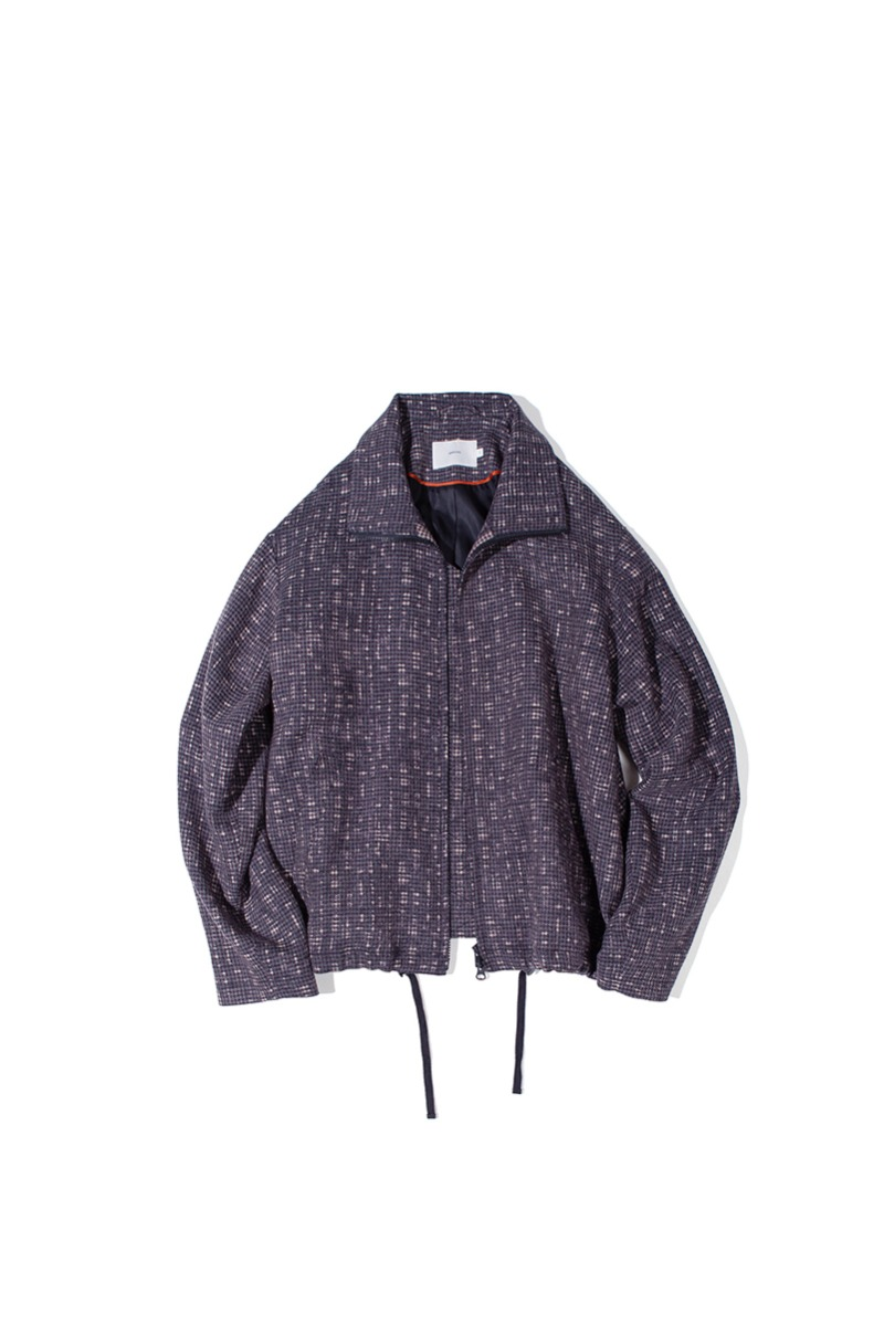FINE WOOL RELAXED BLOUSON (Multi check)