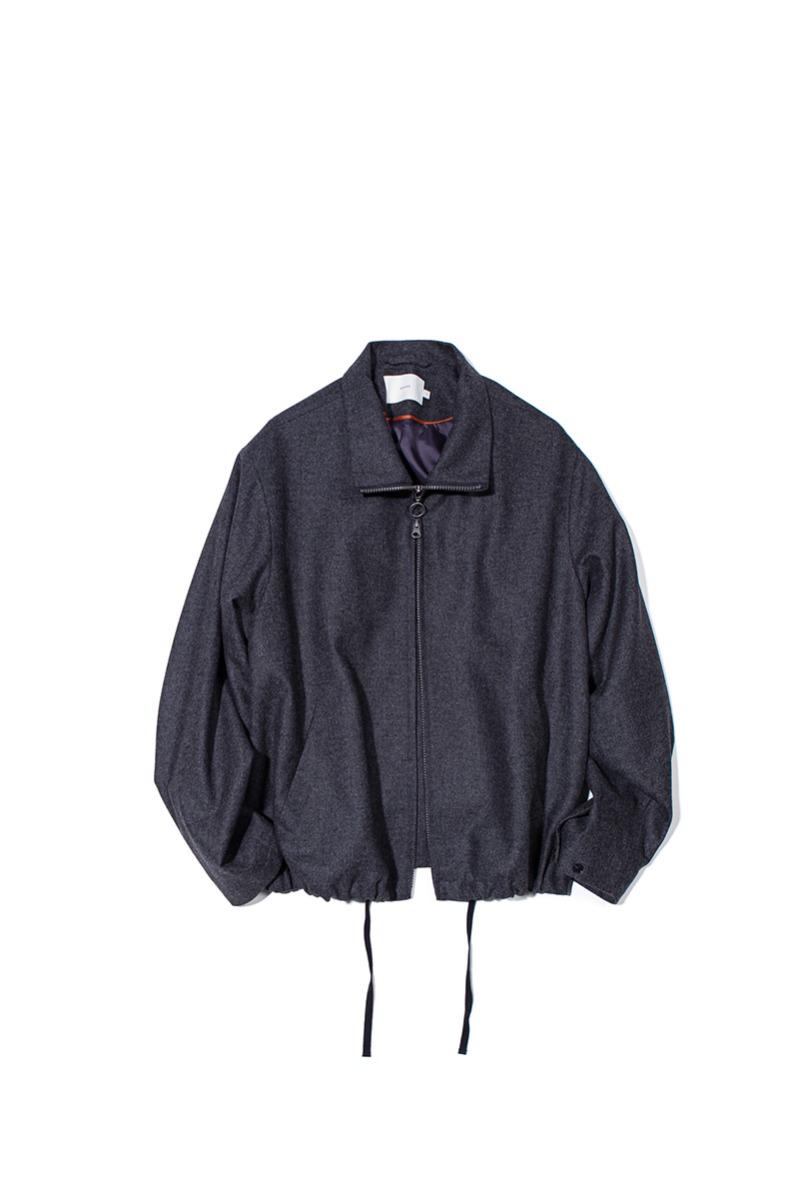 FINE WOOL RELAXED BLOUSON (Charcoal)