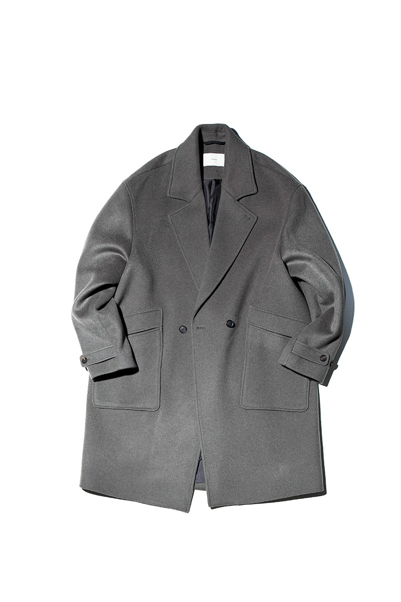SOFT WOOL DOUBLE BREASTED COAT (Stone sage)