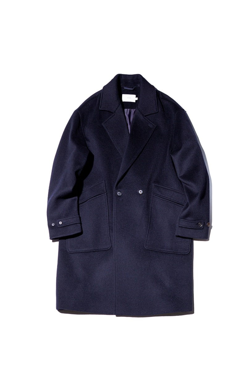 SOFT WOOL DOUBLE BREASTED COAT (Dark navy)