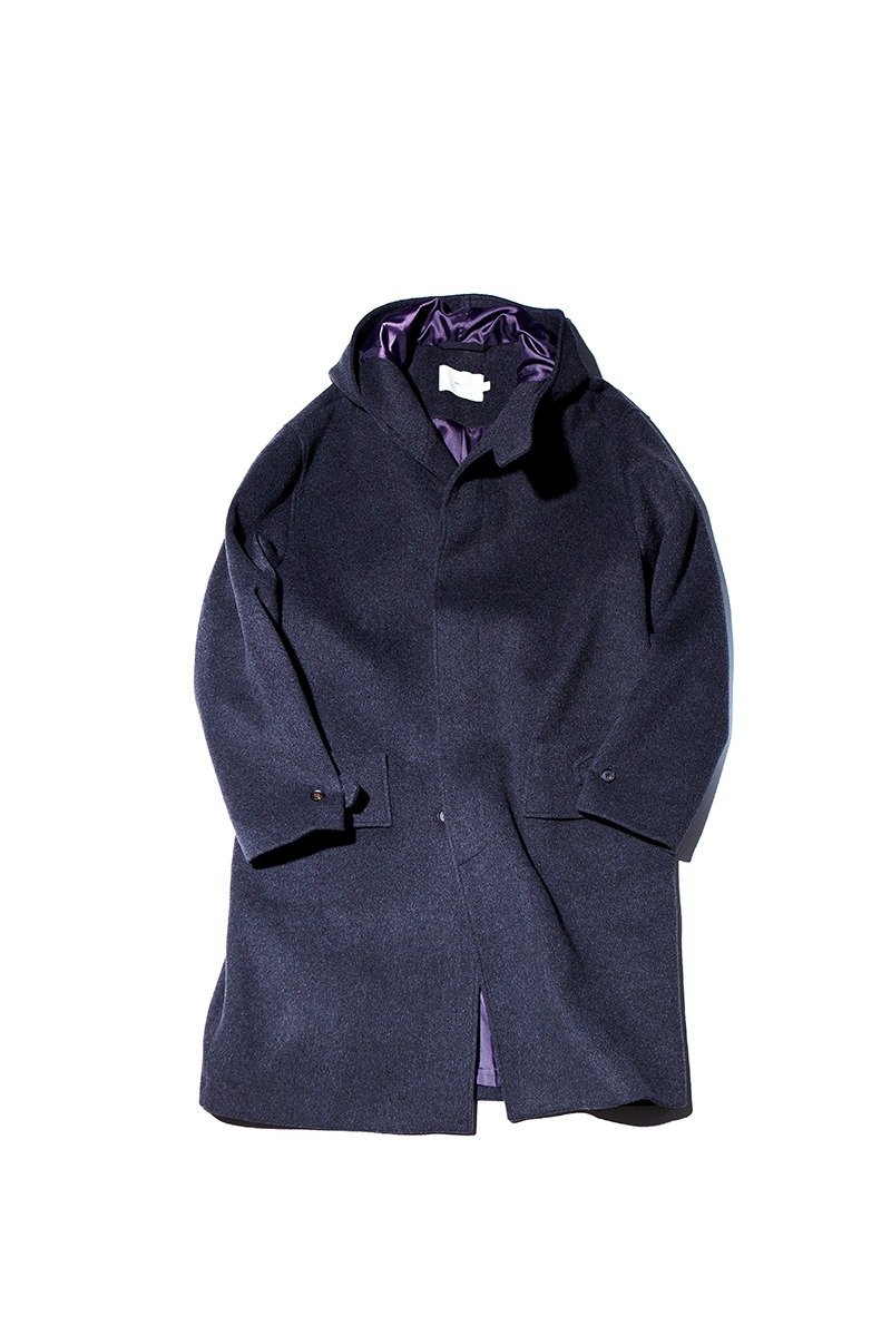 SOFT WOOL HOODED COAT (Charcoal)