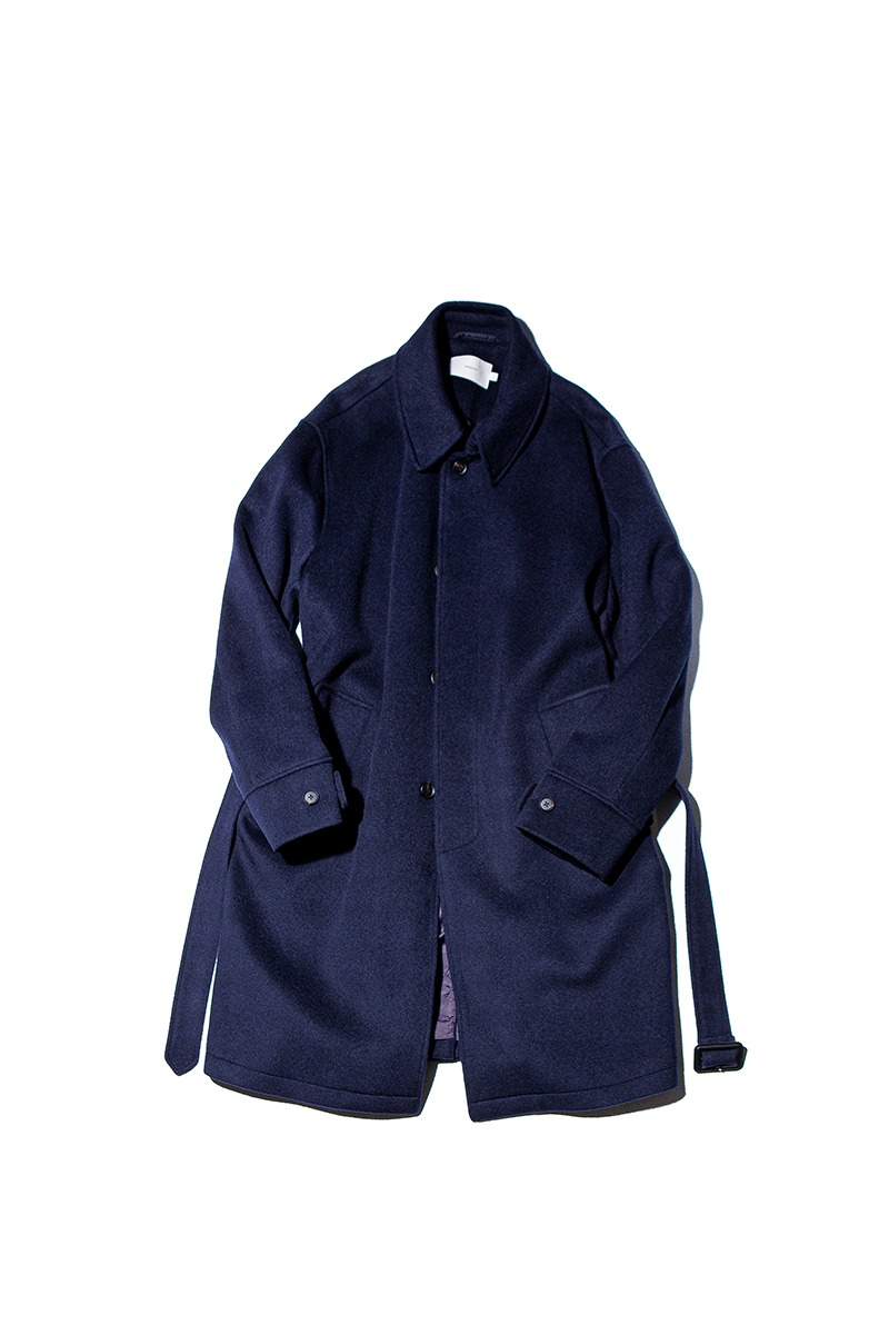 SOFT WOOL BELTED MAC COAT (Midnight navy)