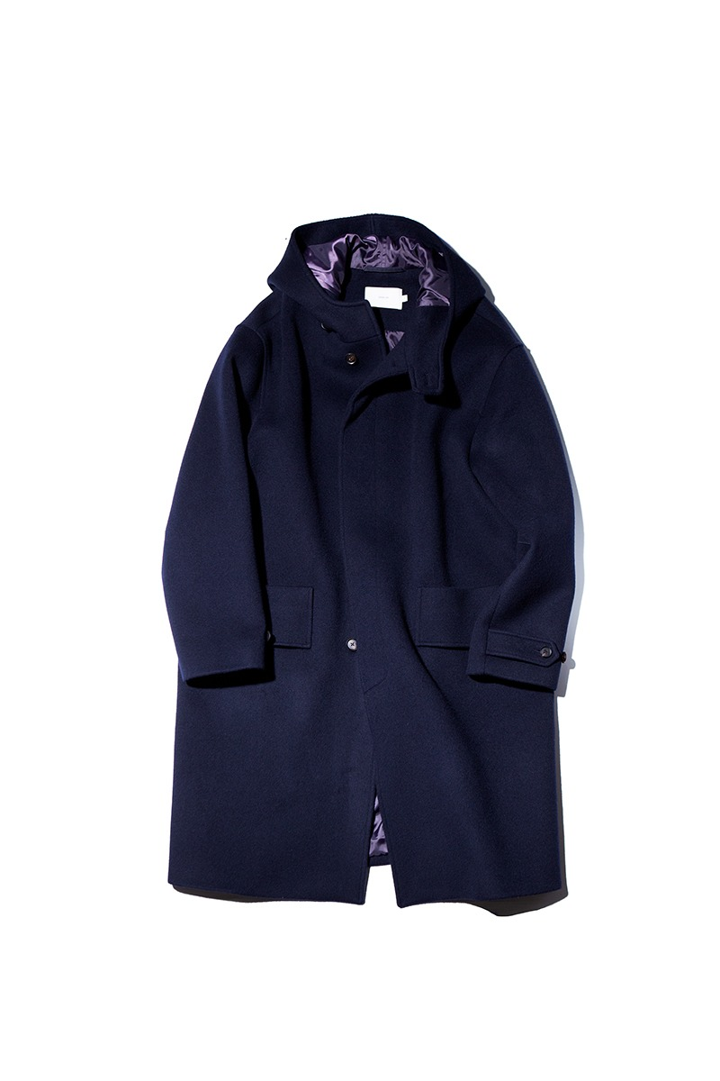 SOFT WOOL HOODED COAT (Deep navy)
